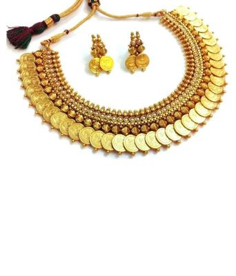gold plated traditional temple coin necklace set