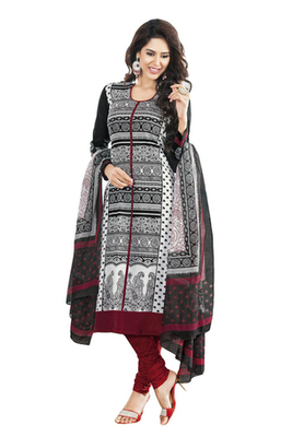 Black & Maroon unstitched churidar kameez with dupatta-KO-4609