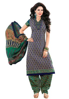 Blue & Green unstitched churidar kameez with dupatta-KO-4617