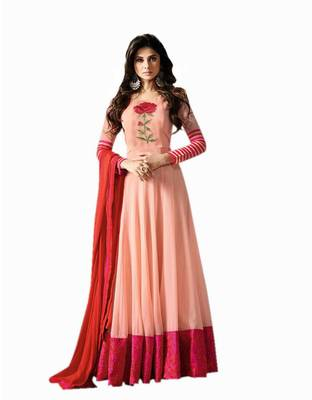 f74a9d85ae Cream embroidered georgette semi stitched salwar suit with dupatta ...