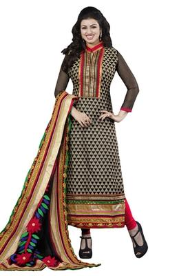 Black & Red unstitched churidar kameez with dupatta-Kiara-45001
