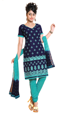 Blue unstitched churidar kameez with dupatta-ES-9107