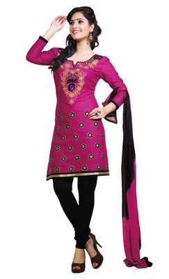 Pink & Black unstitched churidar kameez with dupatta-ES-9116