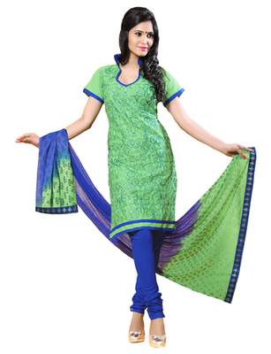 Green & Blue unstitched churidar kameez with dupatta-ES-9117