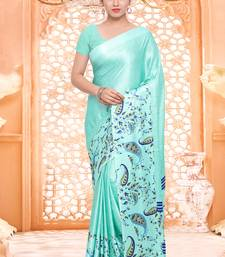 Buy Sky blue printed crepe saree with blouse great-indian-saree-festival online