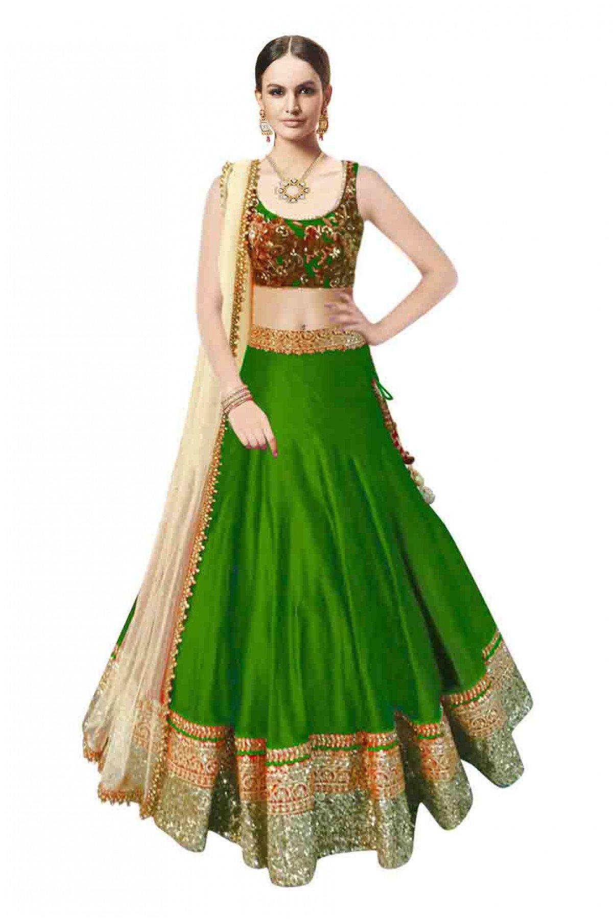 6a5e85d968604 Green printed silk semi stitched lehenga choli with dupatta - Fashion at  Rivaa - 2108281