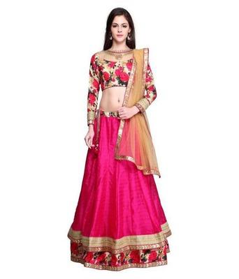 Pink plain silk semi stitched lehenga choli with dupatta (Premium quality)