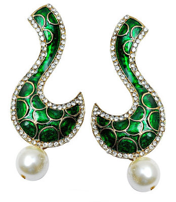 Exclusive Green Meenakari Push-Back Dangler Earrings
