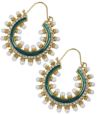 Trendy Green Pearl Push-Back Hoop Earrings