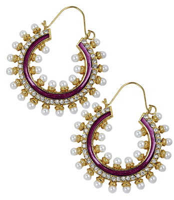 Bright Purple Pearl Push-Back Hoop Earrings