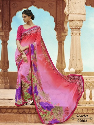 Georgette  Saree with Un-Stitched Blouse