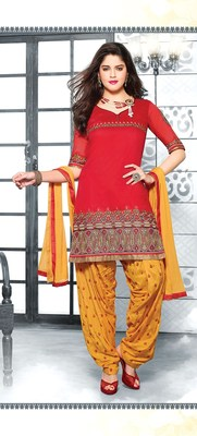 Semi-Stitched Suit with Dupatta