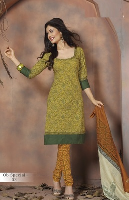 Trendy Green & Mustard Unstitched Pure Cotton Dressmaterial