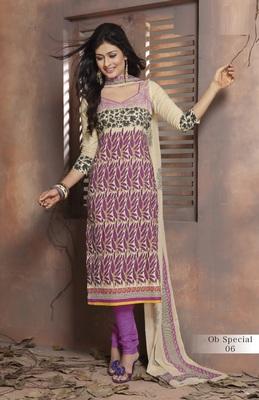 Trendy Cream & Purple Unstitched Pure Cotton Dressmaterial