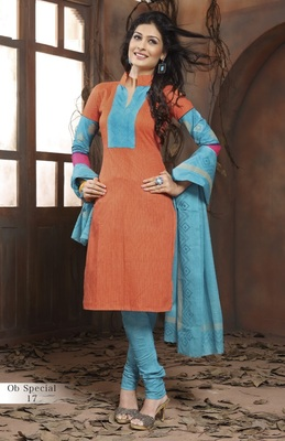 Trendy Coral & PleasantBlue Unstitched Pure Cotton Dressmaterial