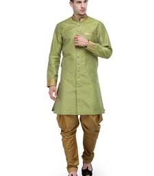 Buy Parrot Green And Gold Plain Sherwani For Men gifts-for-brother online