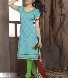 Buy Trendy PleasantBlue & Green Unstitched Pure Cotton Dressmaterial cotton-salwar-kameez online