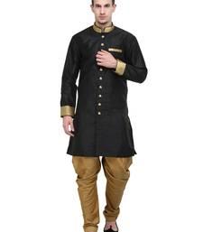 Buy Black And Gold Plain Sherwani For Men men-festive-wear online