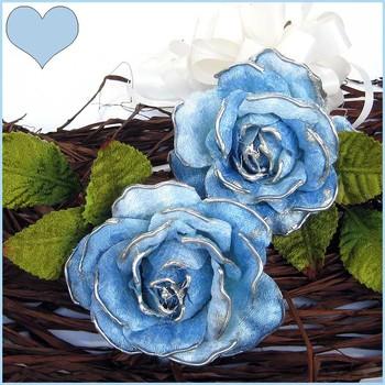 Pretty Velvet Roses x 2 ( Blue )