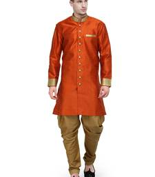 Buy Orange And Gold Plain Sherwani For Men gifts-for-brother online