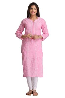 Ada Pink Hand Embroidered Chikankari Cotton Kurti