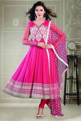 Pretty Pink georgette Anarkali with thread embroideried net dupatta - SL2023