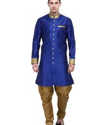 Buy Royal Blue And Gold Plain Sherwani For Men men-festive-wear online