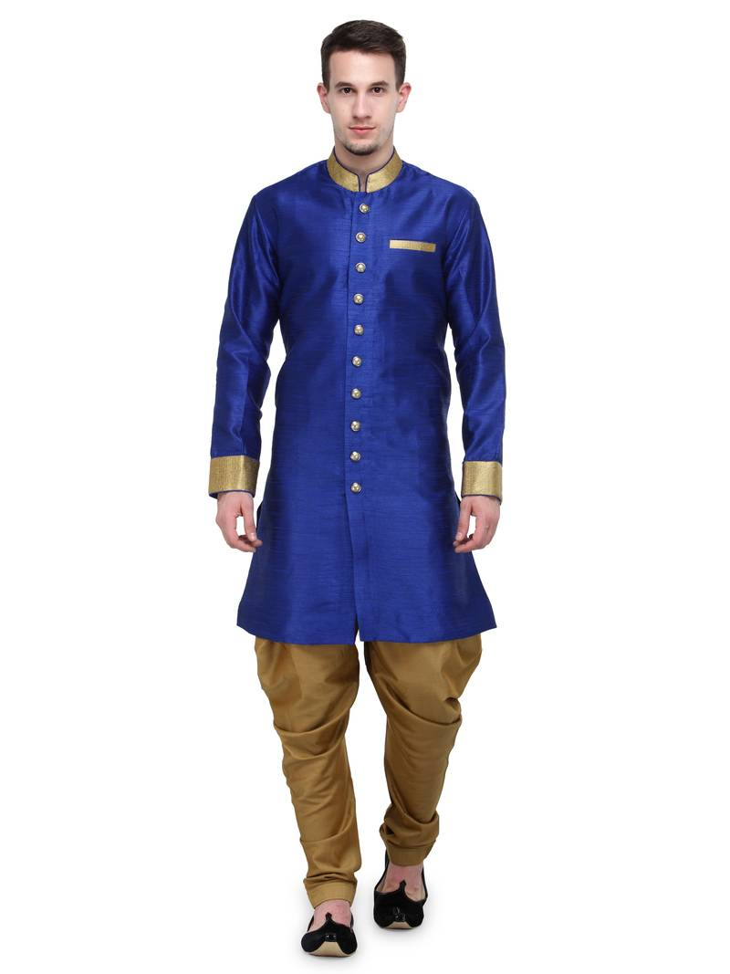 Buy Royal Blue And Gold Plain Sherwani For Men Online