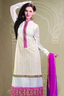 Pretty White, Beige & Pink Straight Cut salwar with Thread work - SL2027-Pink