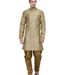 Buy Khaki And Gold Plain Sherwani For Men gifts-for-brother online