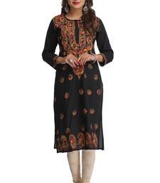 Buy Black embroidered stitched cotton-kurtis chikankari-kurti online