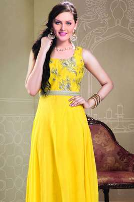 Beautiful Yellow Embroideried Georgette Hi-low DesignerAnarkali - SL2033