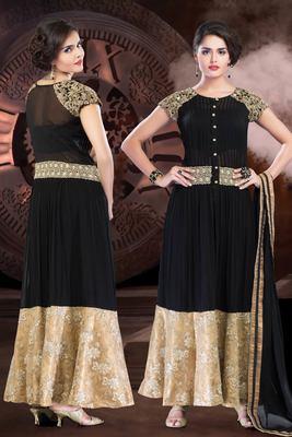 Black flared anarkali in cotton silk & net combo with boat neck-SL2564-black