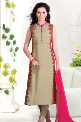 Tan Georgette Chudidar with multi-colour thread floral applique work-SL2628