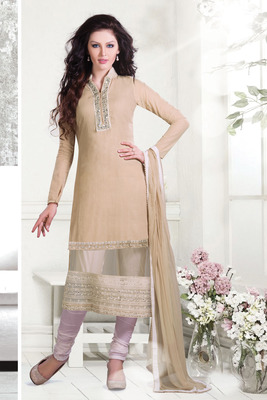 Beige Mirror embroideried Chudidar with Dazzling chinese collar-SL2637-cream