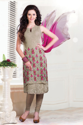 Grey Thread embroideried Printed Crepe Chudidar with Boat neck-SL2642-Beige