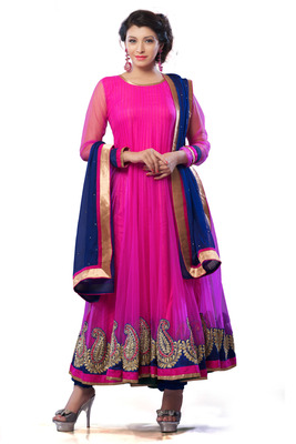 Rani Pink Net Flared Anarkali with Royal Blue Stone worked Dupatta - SL2655