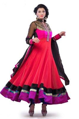 multi colour net ankel length arakali in cotton silk lining  - SL2666