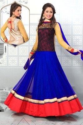 multi colour net anarkali with designer neck & full sleeves - SL2669