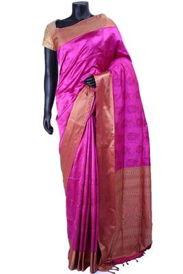 Purple nano silk resham worked saree in pink with gold pallu  - SR5114