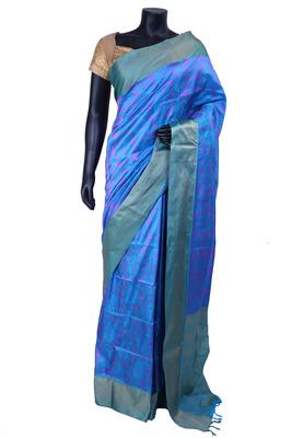 Blue nano silk resham worked saree in blue with gold border - SR5116