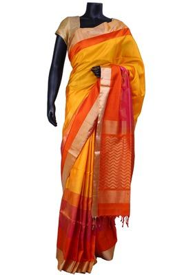 Mustard album silk zari weaved saree in orange with gold border - SR5118