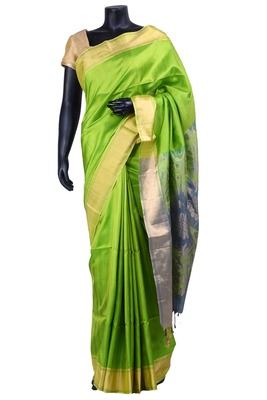 Parrot green album silk zari weaved saree with ivery colour blouse - SR5125
