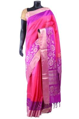 Pink silk party wear saree in golden zari border & purple pallu - SR5129