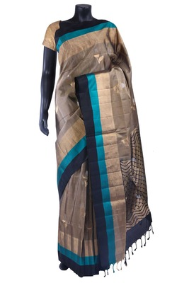 Chiku silk butta woven saree with black pallu & saree border - SR5133