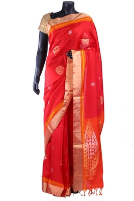 Red silk butta woven saree in gold with orange border & orange pallu - SR5135