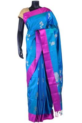 Blue silk butta woven saree with purple border & blue zari woven pallu - SR5139