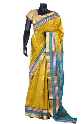 Yellow silk zari woven saree with light blue pallu & blouse  - SR5154