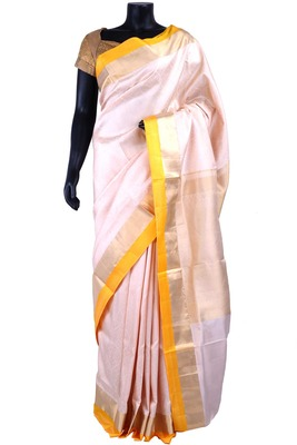 White silk Jaquard Woven saree in yellow with gold border  - SR5158
