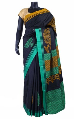 Black silk Jaquard Woven saree with multi colour pallu & green border - SR5161